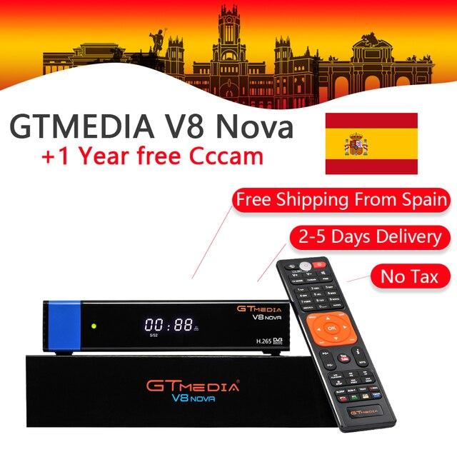 GT Media V8 Nova DVB-S2 Satellite Receiver H.265 built-in WIFI RCA+1 Year Europe Spain CCcam TV Box PK Freesat V8 Super Receptor
