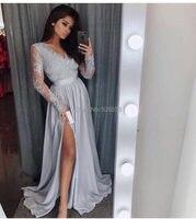 YNQNFS ED10 серебро/темно Silk как атласная V шеи высокие разрез одежда с длинным рукавом Вечерние платья Длинные