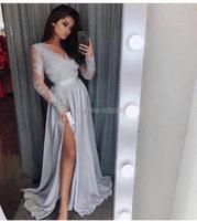 YNQNFS ED10 Silver/Navy Silk like Satin V Neck High Leg Slit Long Sleeves Evening Dresses Long