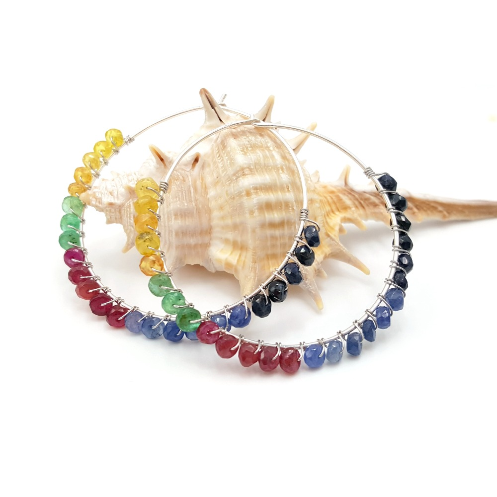 LiiJi Unique Larimar,Pyrite,Spinels,Labradorite,Onyx,Rubys Sapphires Emeralds 925 Silver Big Hoop Earrings Women Fashion Jewelry