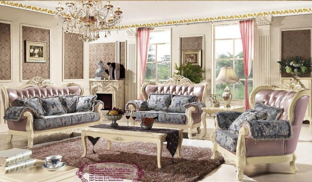Nouvel article sculpté romantique de style européen luxe français meubles salon canapé 1 + 2 + 3 bébé bleu amour F602 dans Canapés salle de séjour de