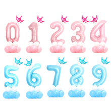 32inch Pearl Blue Pink Number Foil Balloons 0-9 Digital Helium Globo 1st Birthday Party Decora Kids Boy Girl Ballon