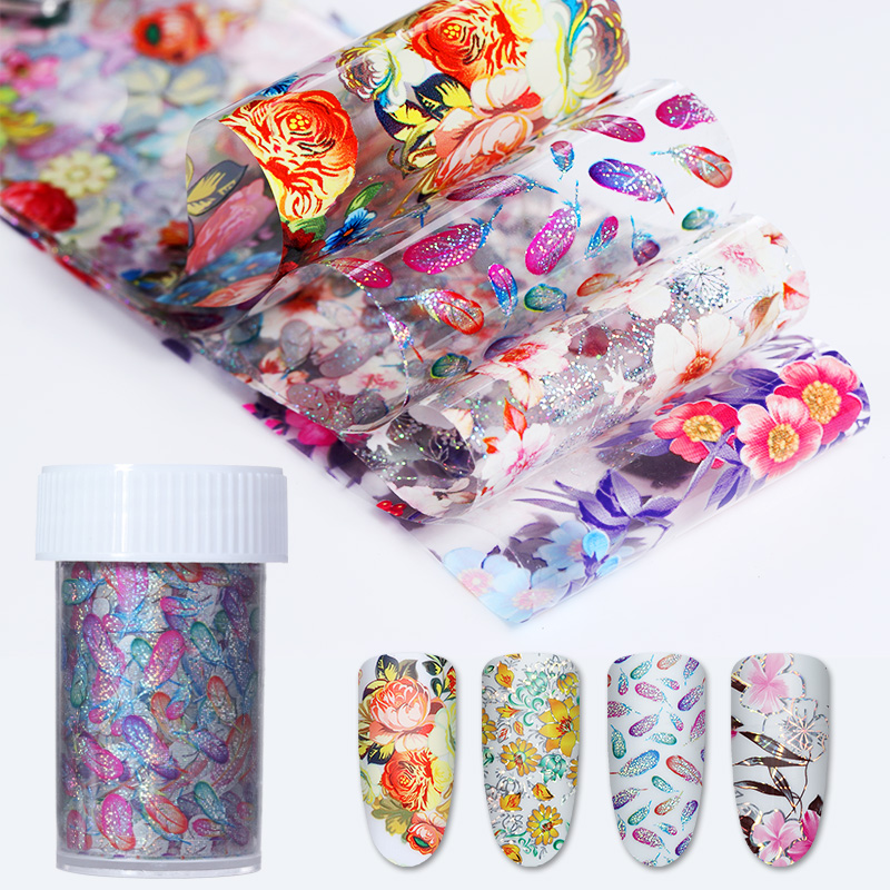 Holographic Flower Starry Nail Foil 4*100cm Colorful Feather Floral Transfer Sticker Manicure Nail Art Decoration 9 rolls colorful flower nail foil 4 100cm holographic starry full fingernail manicure nail art transfer sticker