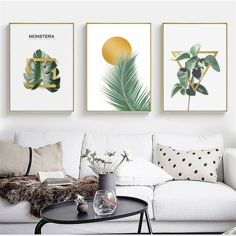 HAOCHU Nordic Canvas Painting Green Plant Leaf Geometry ...