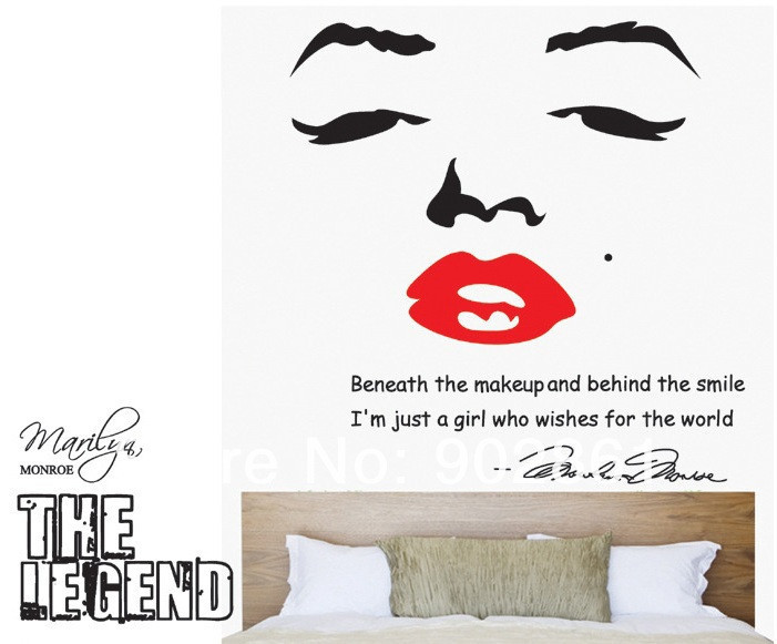 US $7.64 15% OFF Marilyn Monroe Wall Decal Removable Art Home Decor Quote  Face Red Lips Large Nice Sticker Free shipping 100cmx90cm-in Wall Stickers  ...