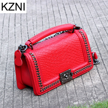 KZNI Real Leather Serpentine Handbag Crossbody Bags for Women Messenger Bags Flap Sac a Main Femme De Marque Luxe Cuir 2019 9079