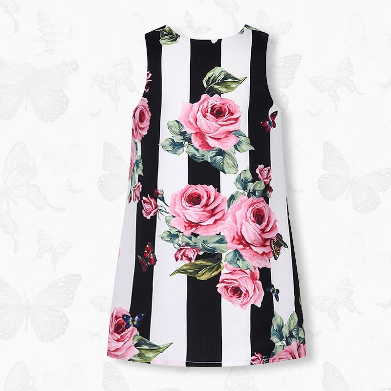 W.L.Monsoon Children's clothing Girls A-line dress child Dress Summer dress 2018 New Black and white stripes printing dress stamp a line womens day dress
