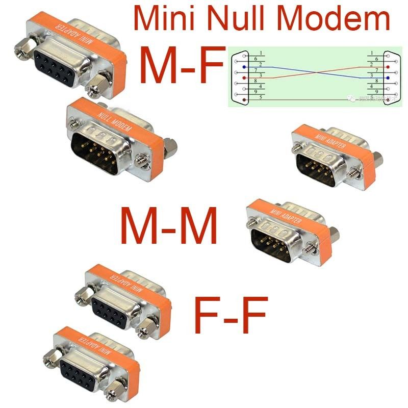 High Quality Mini Null Modem DB9 Female Male plug Adapter Gender Changer cross new
