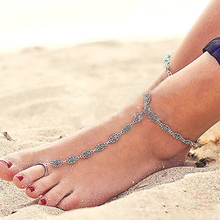 5001 New Fashion Antique Gold/Silver Color Toe Chain Link Ankle Bracelet Vintage Bohemia Foot Jewelry For Women