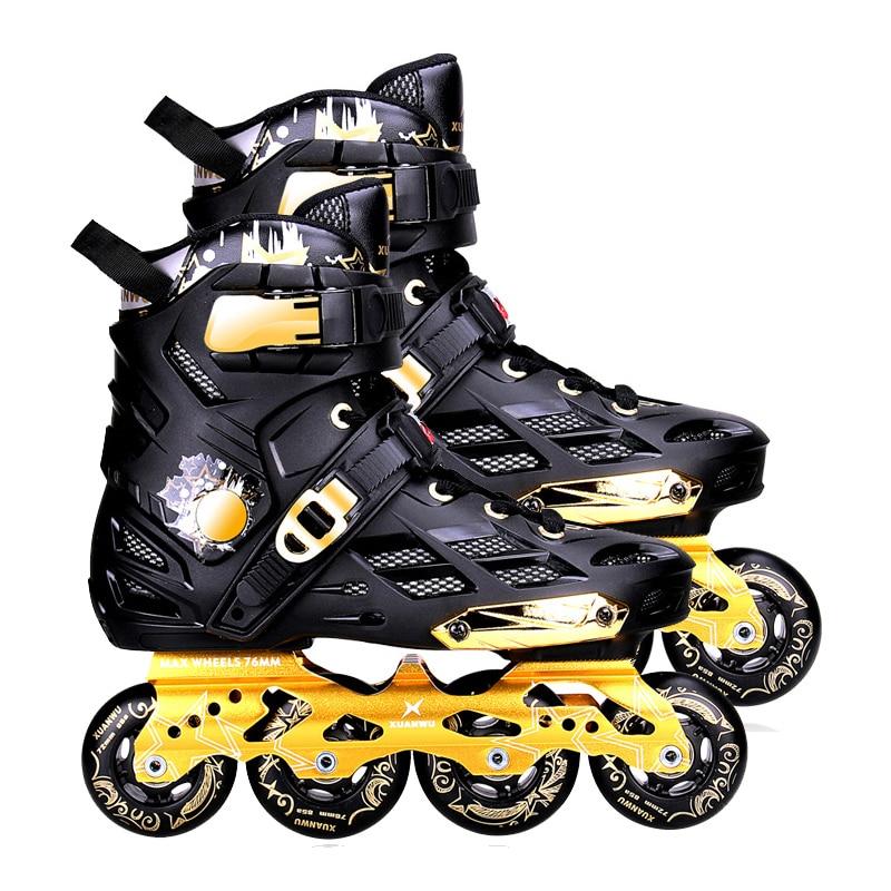 Mars Black Gold Inline Skates Professional Slalom Adult Roller Skating Shoes Sliding Free Skating Good As SEBA Patines Adulto цены онлайн