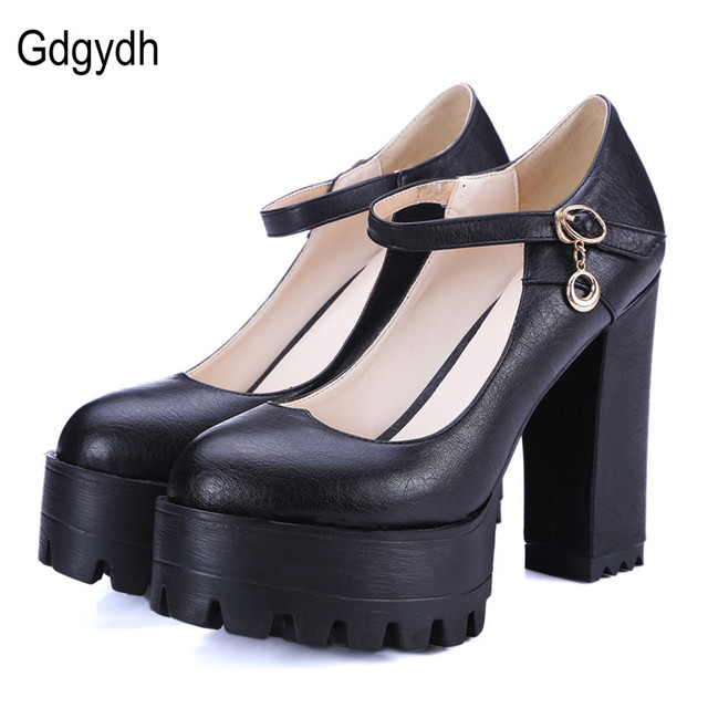 Gdgydh Good Quality New Brand Spring High Heels Women Shoes Large Size 42 Thick Heel Platform Women Pumps Casual Shoes Russian