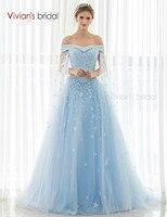 Vivian nupcial de tul largo una línea vestidos de noche Appliqueswith flores azul Vestidos de Noche Vestidos robe de soiree SQ50525