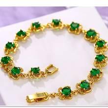 Браслет с зеленым цирконием сверкающие ювелирные изделия жёлтое