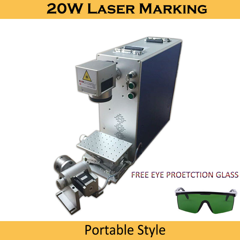 Laser Marking Machine 20W Fiber Optical 4th Rotary Metal Engraving Working Area Option 100x100 200x200mm Laser Marking Machine