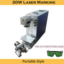 Купить с кэшбэком Free DHL 20W fiber laser marking machine CX with rotary axis portable desktop for marking ring plywood acrylic