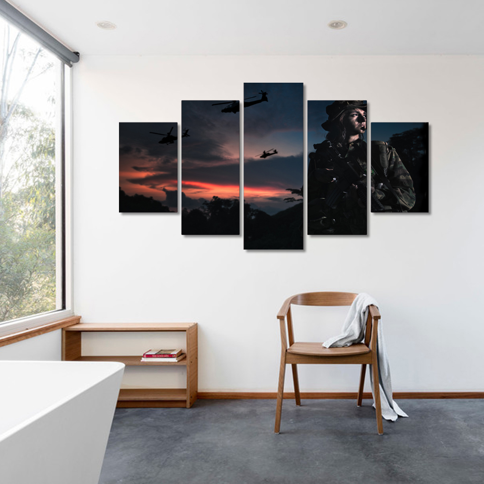 Canvas Wall Art Pictures Home Decor Living Room Frame 5 Pieces ...