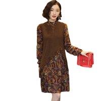Women Printed Dress Autumn Winter False Two-piece Wool Knit Chiffon Dresses Ladies Long Sleeve Warm Plus Size Dresses FP0220