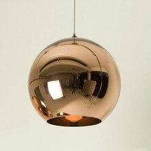 цена на Modern Copper/Sliver/Gold glass ball lampshade Inside Mirror pendant Light E27 Bulb LED indoor Home copper glass Pendant Lamp