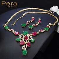 Pera CZ Vintage African Green And Red Stone Yellow Gold Color Nigerian Women Big Cubic Zirconia Jewelry Sets For Party J081