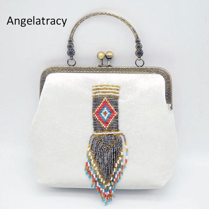 2018 Angelatracy Vintage géométrique blanc gland perle fermoir chaîne métal cadre velours bandoulière femmes épaule Totes Shell sac