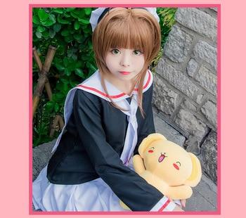 цена на New CARDCAPTOR SAKURA Girl Sailor School Uniform Cosplay Costume With Hat Full Set Free shipping