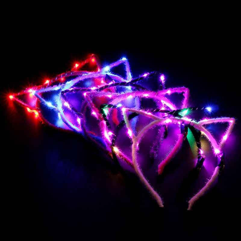 1PC Cute Pointed Flashing Cat Ear Hairbands Plush Wrapped Party LED Glowing String Light Hair Hoop for Women Girls Random Color