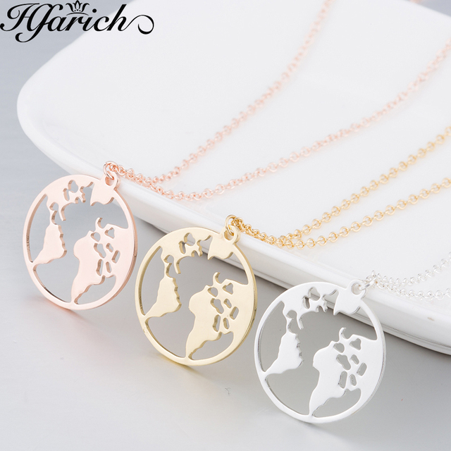 Hfarich Globe World Map Necklace Earth Day Gift For Best Friends Wanderlust Pend