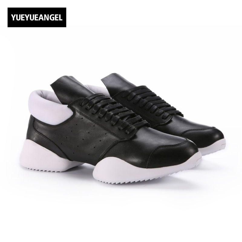Men Horseshoe Shoes 2018 New Lace Up Ankle Luxury Trainers Genuine Leather Shoes Casual Brand Flat Black White Big Size Sneaker owen seak women shoes high top ankle boots genuine leather luxury trainers sneaker casual lace up zip flat shoes black white big