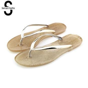 Senza Fretta Summer Women Slippers Casual Jelly Beach Flip Flops Slippers Ladies Flip Flop Summer Slippers Women Shoe Chaussures flip-flops