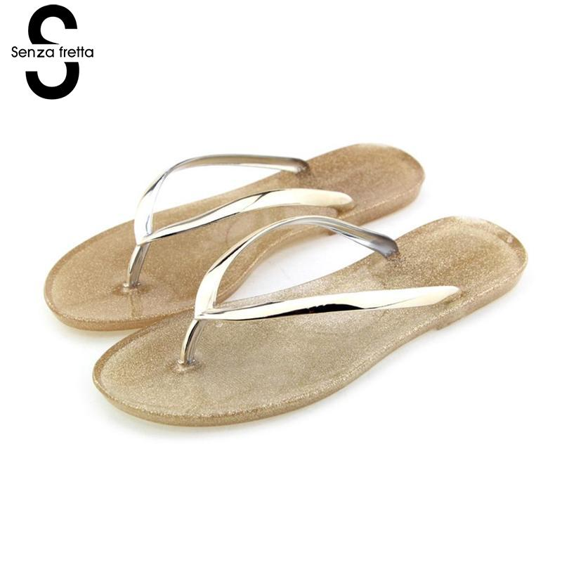Senza Fretta Summer Women Slippers Casual Jelly Beach Flip Flops Slippers Ladies Flip Flop Summer Slippers Women Shoe Chaussures