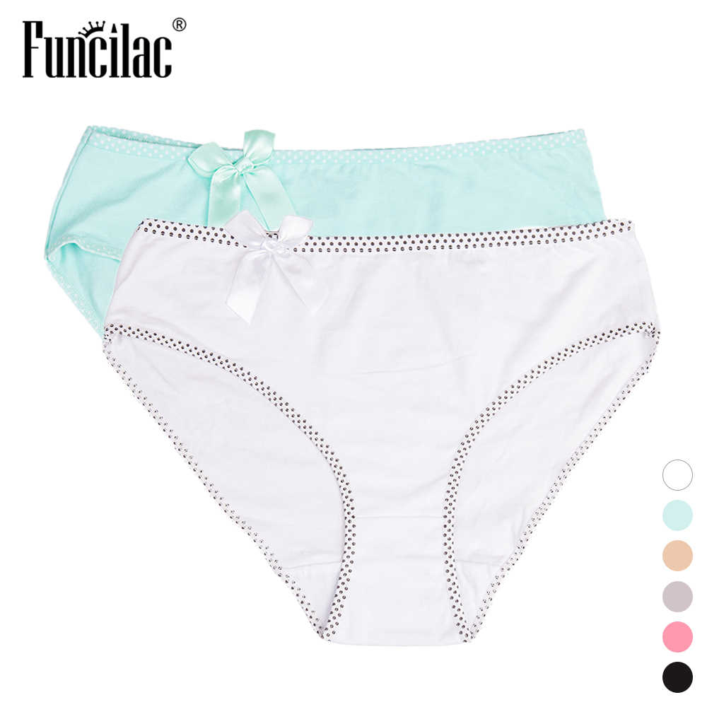 1a7a571a8724 Detail Feedback Questions about FUNCILAC Women's Briefs Plus Size Dot Bow  Panties Sexy Solid Cotton Underwear kawaii Intimates vs pink culotte femme  ...