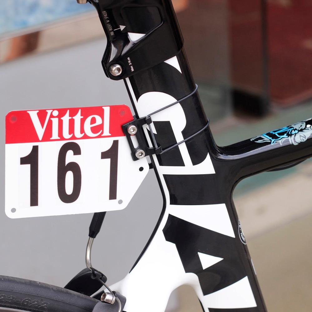 34da6ba4430 Aluminum Racing Number Plate Mount Road Bike Triathlon DIY Custom Plate  Holder Card Bracket fit Flat
