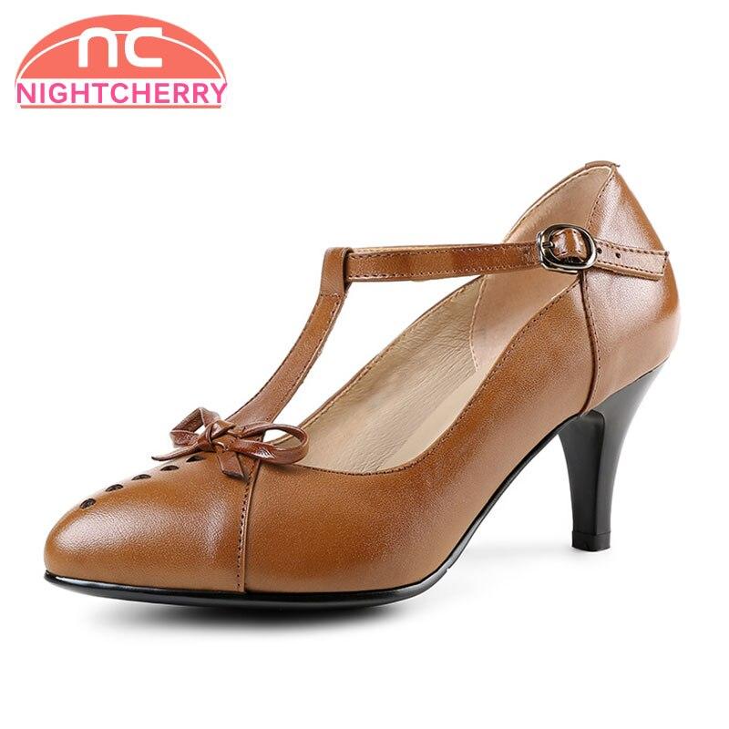 Puntiagudo Del Pie De Nightcherry Calzado Bowknot marrón Talón Bombas 39 34 Moda Dedo Tacones Talla Las Negro Atado Mujer Cuero T Zapatos Real Alto Mujeres v4xxqwPd