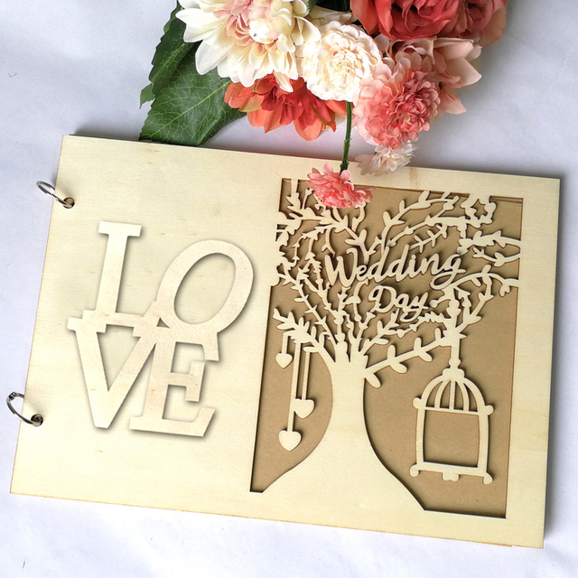 Wooden Photo Album Scrapbook Blank For Wedding/Baby/DIY/Loose-Leaf Cover Craft Album Photos Case Binding