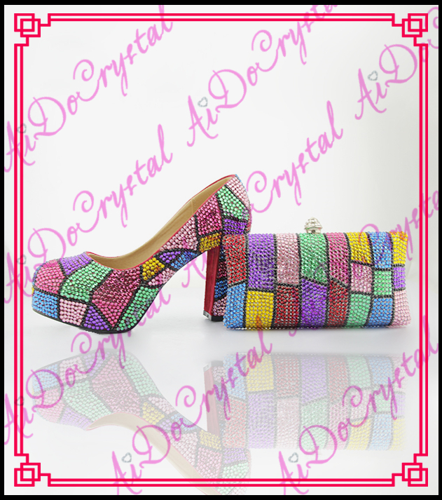 Aidocrystal fashion mix-color irregular geometry pattern square heel high heels italian leather shoes and matching bags doershow african shoes and bags fashion italian matching shoes and bag set nigerian high heels for wedding dress puw1 19