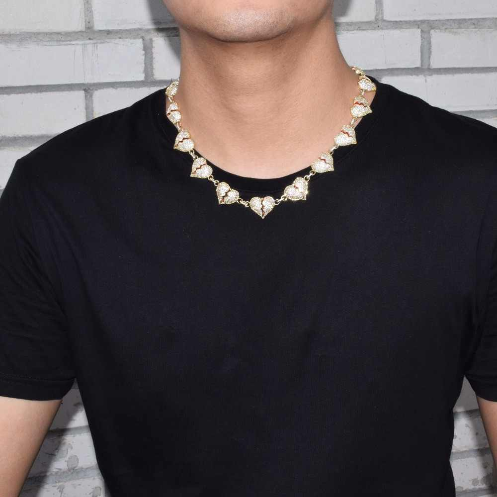 Iced сломанной цепочка-ожерелье «сердце» цвета: золотистый, серебристый цвет Bling кубический циркон для мужчин's женщин хип хоп украшения для подарка