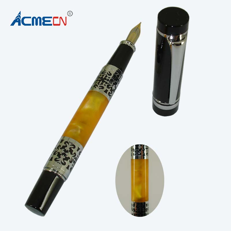 ACMECN 2018 Carved Fountain Pen Class Debossed ODM & OEM Pattern Luxurious Finance Liquid ink Pens 43g Metal Acrylic Heavy