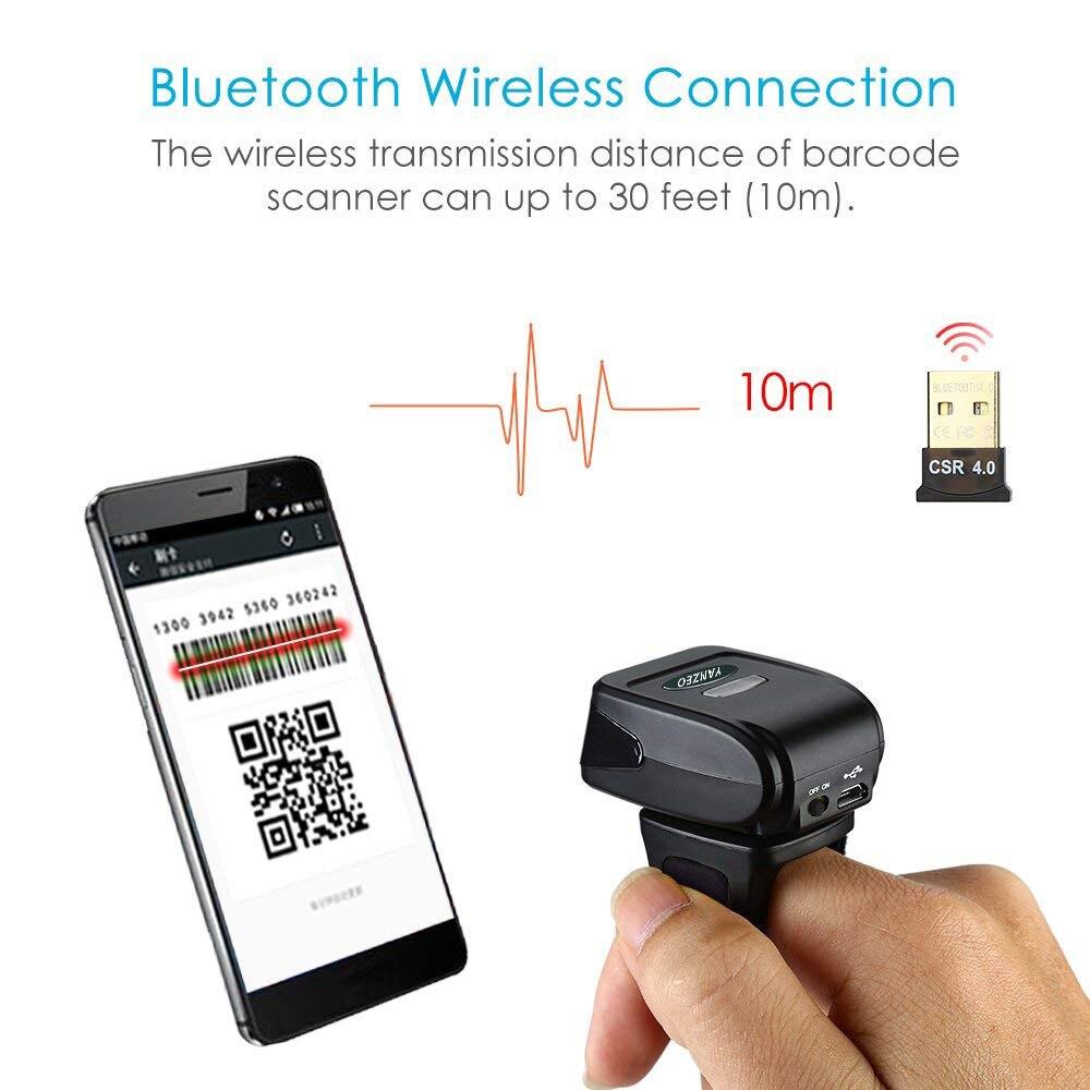 50PCS YZ-1802 Portable Bluetooth 2D Barcode Scanner Wearable Ring Wireless Finger Mini QR Bar 50pcs 100