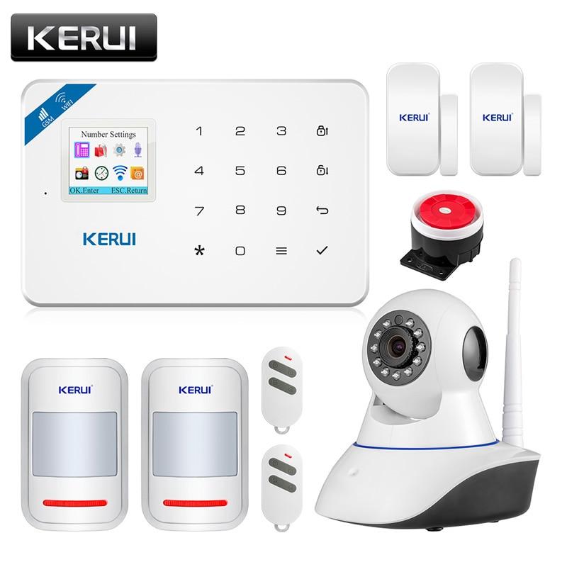KERUI W18 Sans Fil système d'alarme sans fil gsm application ios et android Contrôle accueil système d'alarme de sécurité avec PIR détecteur de mouvement caméra IP