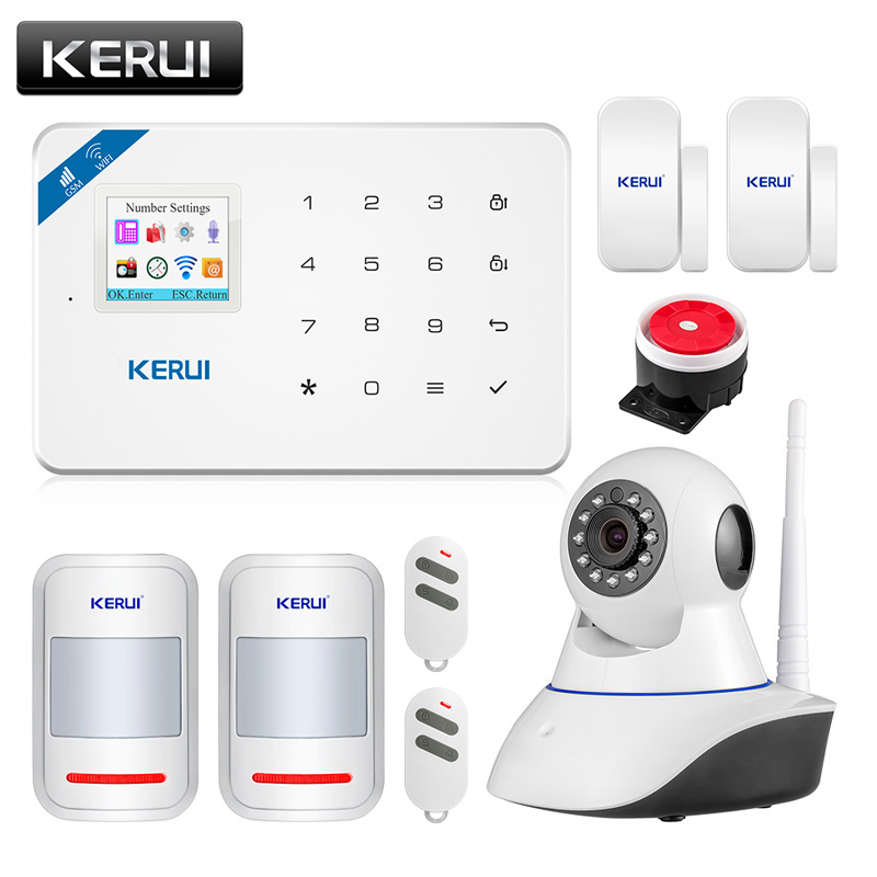 Wireless WiFi GSM Alarm System Android ios APP Control  home Security Alarm System with PIR motion sensor IP camera wolf guard wifi wireless 433mhz android ios app remote control rfid security wifi burglar alarm system with sos button