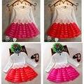 3-8Y Niño Bebé Girls Kids Tutu Vestido de Encaje de Ganchillo de Manga Larga Vestido de la Princesa Ropa de Las Muchachas