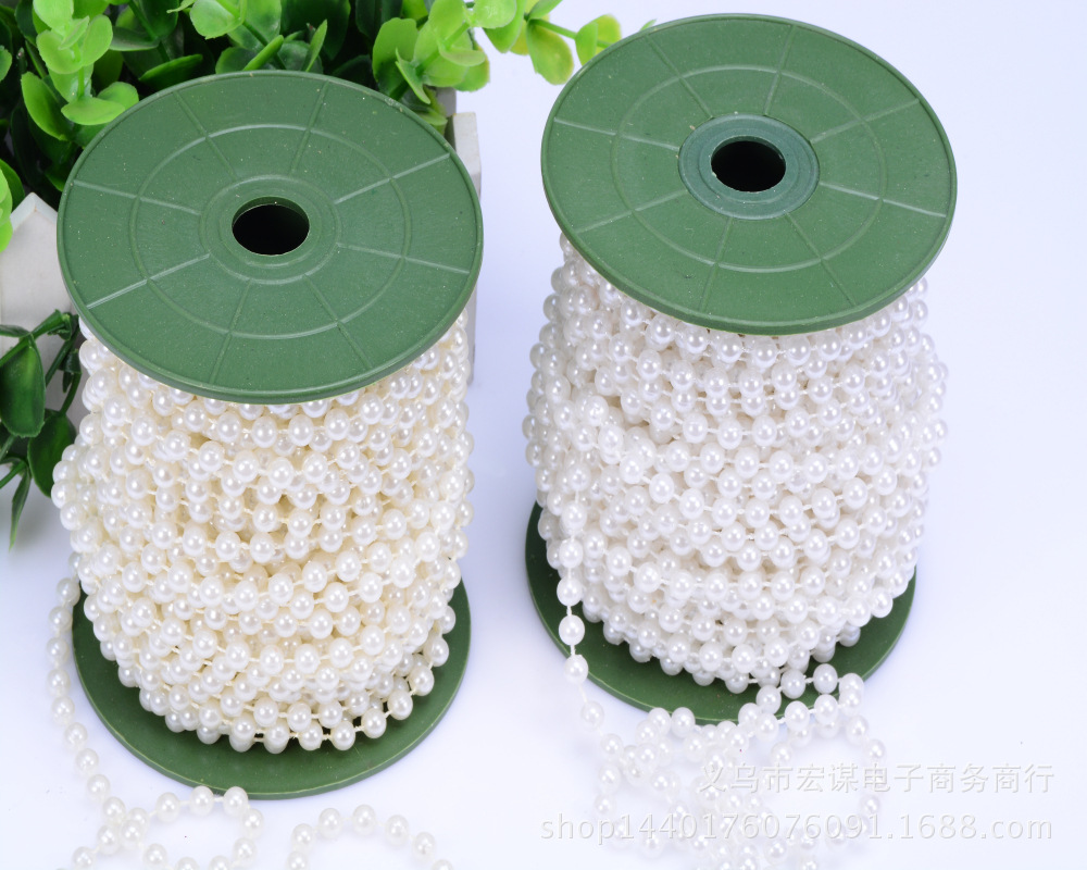 5mm White/Beige Decorative Pearl Strands 30m/Roll Round Beads Garland Chain Rolls String of Pearls For Wedding Decoration Crafts