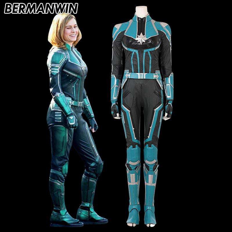 BERMANWIN High Quality Carol Danvers Captain Marvel costume superhero Captain Marvel cosplay Brie Larson Captain Marvel suit