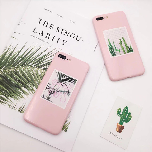 the best attitude 35d35 1f41a US $2.86 |For iPhone 8 7 Case Soft Silicone Plants Cactus Scattered tail  leaf Case For iPhone 6 6S Plus Cases Pink TPU Phone Back Cover-in Fitted ...