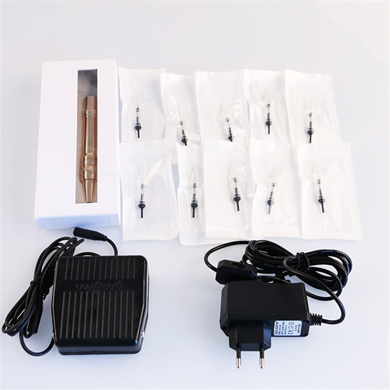 Permanent Makeup Tattoo Kits 1Pcs Golden Rotary Tattoo Machine Eyebrow Lip Pen + Power Supply + Needles + Footpedal beautome 2016 permanent makeup pen tattoo eyebrow lips cosmetic machine kits needles tips ink permanent tattooing for adult red