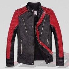 2017 Men Genuine Rivet Leather Motorcycle Jacket Black Stand Collar Real Sheepskin Slim Fit Men Winter Biker Coat FREE SHIPPING