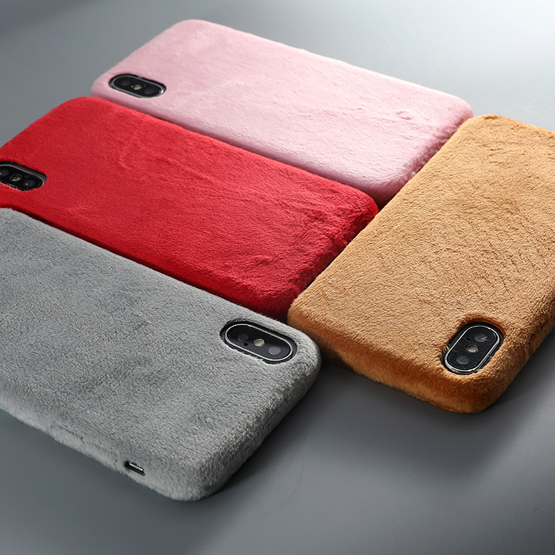 Slim Fur Plush Phone Case For iPhone XS max XR X Cover Soft Silicone PU Leather Case For iPhone 7 8 6 6s Plus Matte Back Cover iPhone XS