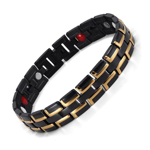 Healing Magnetic Bracelet Men/Woman 316L Stainless Steel 3 Health Care Elements(Magnetic,FIR,Germanium) Gold Bracelet Hand Chain 1