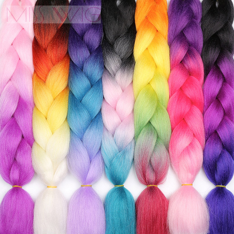 MISS WIG Jumb Braiding Synthetic Hair 88Colors Available 24Inch Crochet Blonde Hair For Women Extensions Jumbo Braids Hairstyles(China)