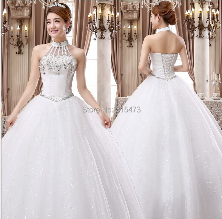 2015 new korean style halter elegant white wedding dress for Wedding dresses with lace up back
